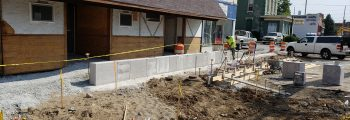 Walls and Planters Being Installed West of Pike, Storm Sewer East